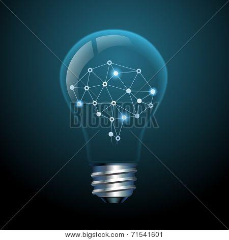 Concept of creative ideas, brain in a light bulb, eps10 vector