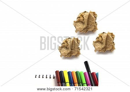 Papers Crumple Ball And Color Pen On White Background