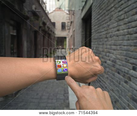 Hand Wearing Ultra Slim Bent Interface Smartwatch With Apps
