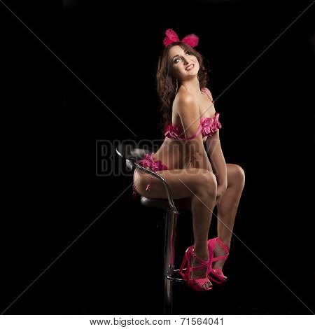 Burlesque dancer in pink dress