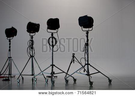 Four Studio Lights In Studio