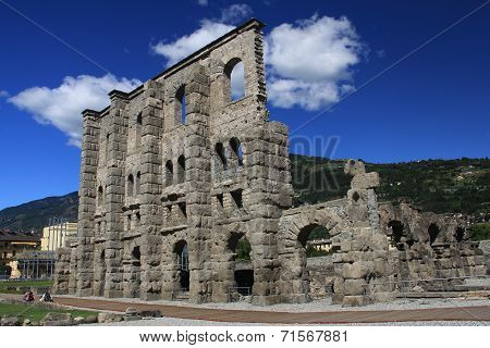 The Looking Roman Ruins In Aoste Italy