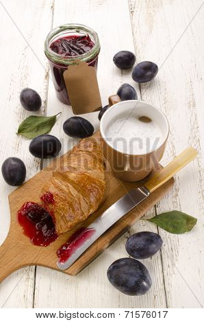 Breakfast With Croissant And Cafe Au Lait