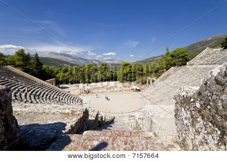 Ancient amphitheater of Epidaurus at Peloponnese, Greece poster