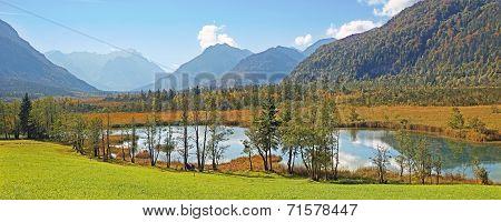 Seven Springs At Loisach Valley, German Landscape
