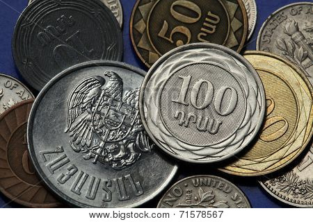 Coins of Armenia. Armenian one hundred dram coin and Armenian national coat of arms depicted in Armenian dram coins.