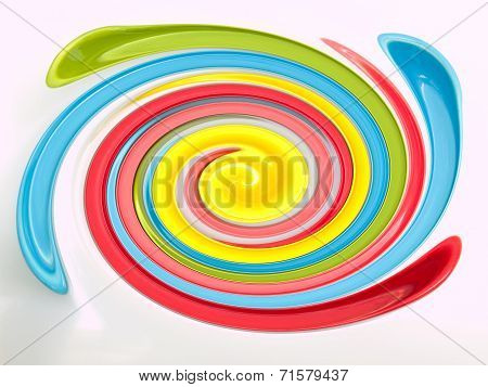 Light blue green yellow and pink twirling strips abstract background