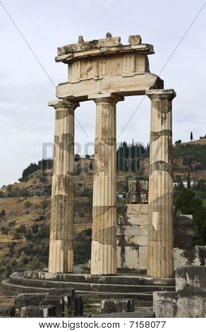 Temple of Athena pronoia at Delphi Greece