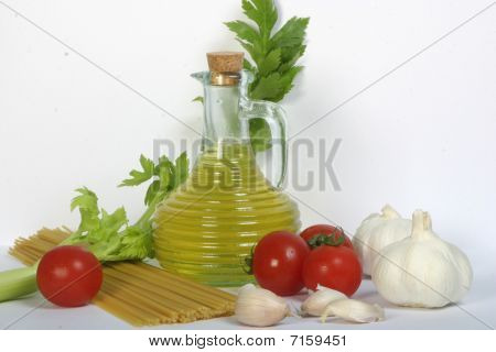 Olive Oil And Pasta With Various Vegetables