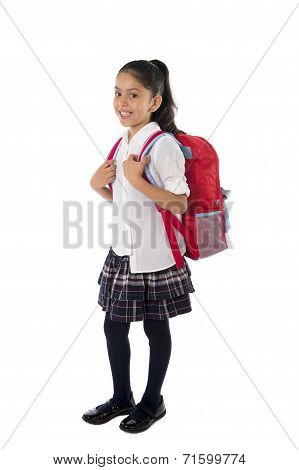 Cute Little School Girl Carrying School bag Backpack And Books Smiling