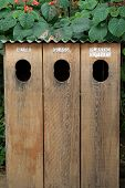 Recycling - Hawaiian style. Sparrows enjoy a meal on the roof of natural wood recycle bins. poster