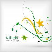 Seasonal autumn greeting card, minimal modern line design, nature environmental greeting card template or seasonal brochure layout poster