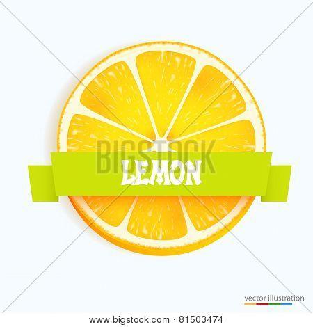 Fresh lemon slice with stripe