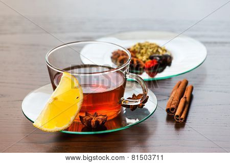 Cup Of Hot Tea With Lemon.