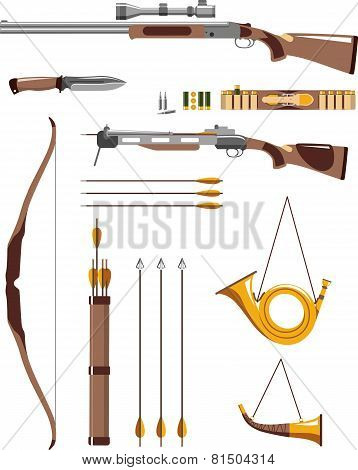 Hunting weapons and objects in flat style poster