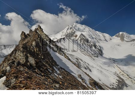 Scenic rugged ridge in Himalayas mountains in Nepal poster