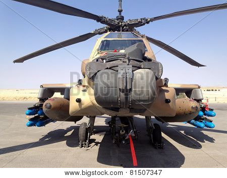 Combat Helicopter Apache At The Museum Of The Air Force Idf
