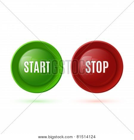 Two glossy buttons, start and stop