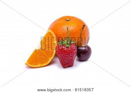 Orange Stawberry Cherry On White Background