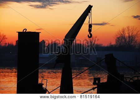 Boat Cran And Sunset At Sava River