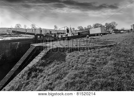 Canal Lock Gate In Black And White.