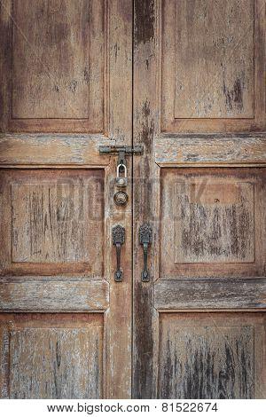 Wooden door in vintage style