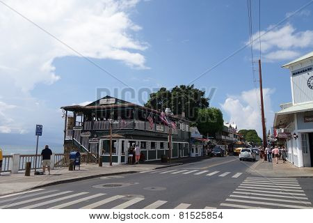 Cheese Burger In Paradise Restaurant On The Lahaina Waterfront With People Exploring The Surrounding