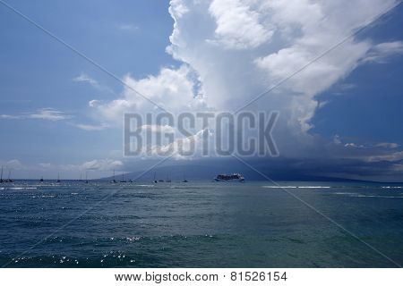 Princess Cruise Ship docked along with other boats off coast of Maui