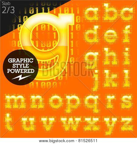 Techno style alphabet sensitive to the background. Stab. Set 2