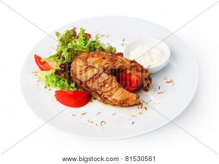 Restaurant Food Isolated - Pikeperch Fish Steak