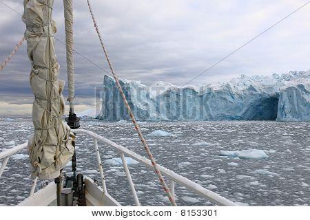 Sailing boat in Antarctica