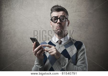 Funny Guy Having Troubles With His Smartphone