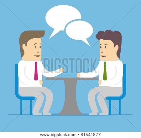 Communication between two businessmen at the table