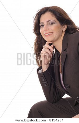 business woman thinking copyspace