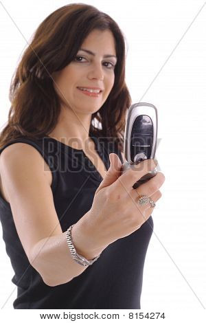 woman taking photo with camera phone (focus on phone)
