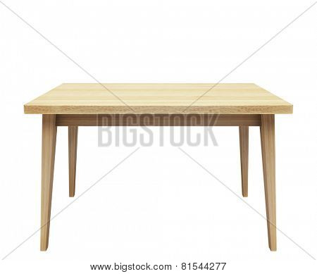 Wooden table on isolated white background.