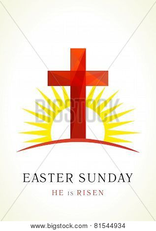 Happy easter. He is risen. Greetings celebrating invite. Calvary cross in sun light vector logo. Missionary card. Template symbol for christian churches, events and christian organizations. Stained-glass crucifixion window from pieces.