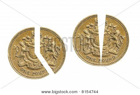 Pound coin showing 40p annd 50p in the pound tax rates (current 2010). poster