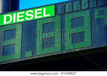 Diesel Fuel Price Gas Station Display Closeup. poster