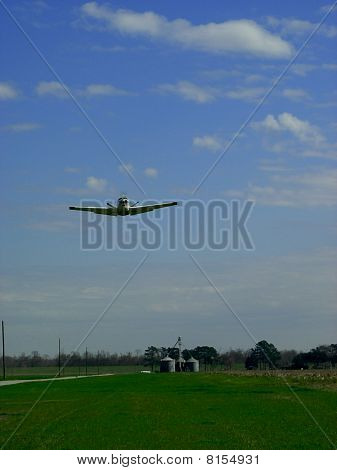 Beechcraft airplane taking offf