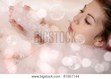 woman in bathroom.
