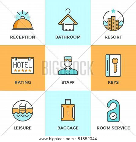 Hotel Accommodation Services Line Icons Set