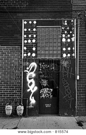 Graffiti on a doorway