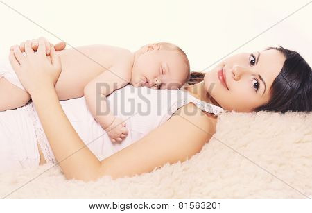 Sleeping Baby And Mother At Home