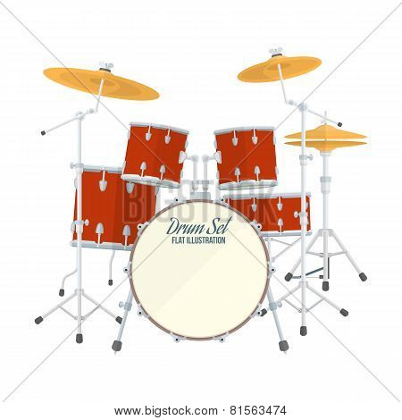color flat style vector drum set