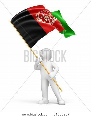 Man and Afghani flag (clipping path included)