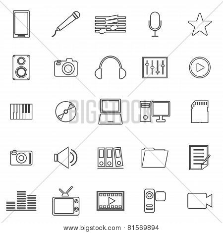 Media Line Icons On White Background
