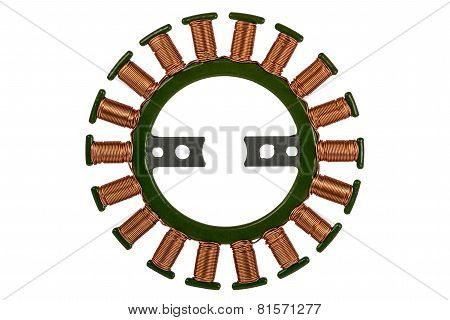 Stator Of The Stepper Motor, Isolated On White Background