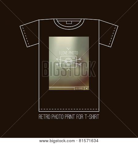 Retro Photocamera Emblem For T-shirt