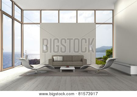 seaside living room with copy space